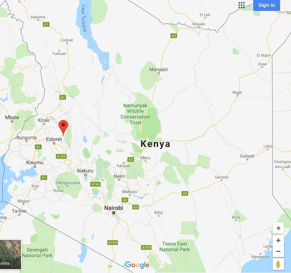 Running faster and longer in Kenya, Africa - Map of Iten, where the fastest runners congregate to train