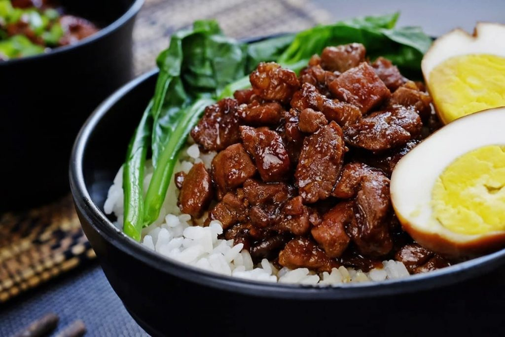 Eating food in China - this is a bowl of braised pork. A classic dish in Taiwan.
