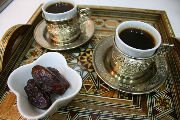 Arabic coffee served with dates in Egypt