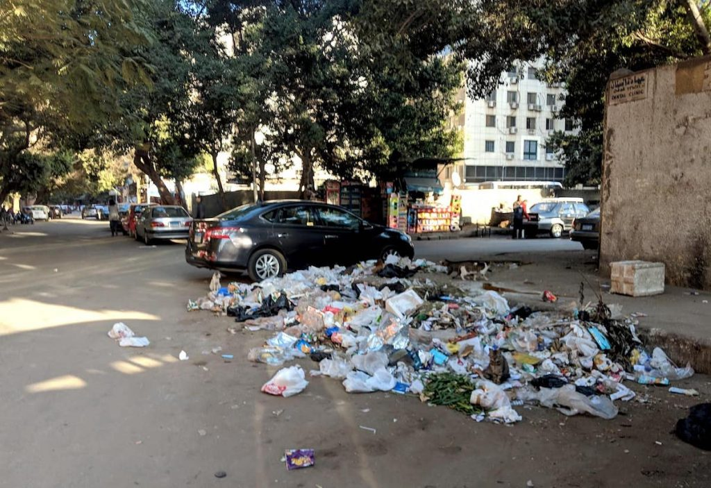 A pile of trash in Cairo, a city with a big waste management and garbage problem, only in part addressed by the Zabaleen.