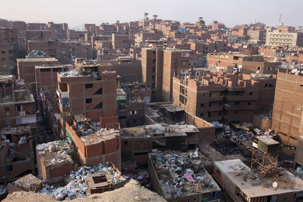 The Moqattam, the district in Cairo where a large community of the Zabaleen — Cairo's informal garbage collectors — live.
