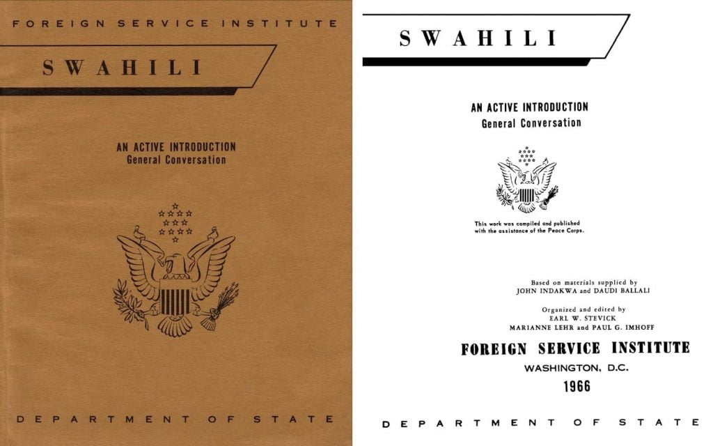 Free Swahili textobok from the Department of State. How American Spies learn languages: the free FSI language series
