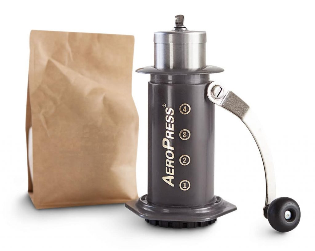 The Aeropress Coffee Brewer + Porlex Grinder, a great combo for the frequent traveller