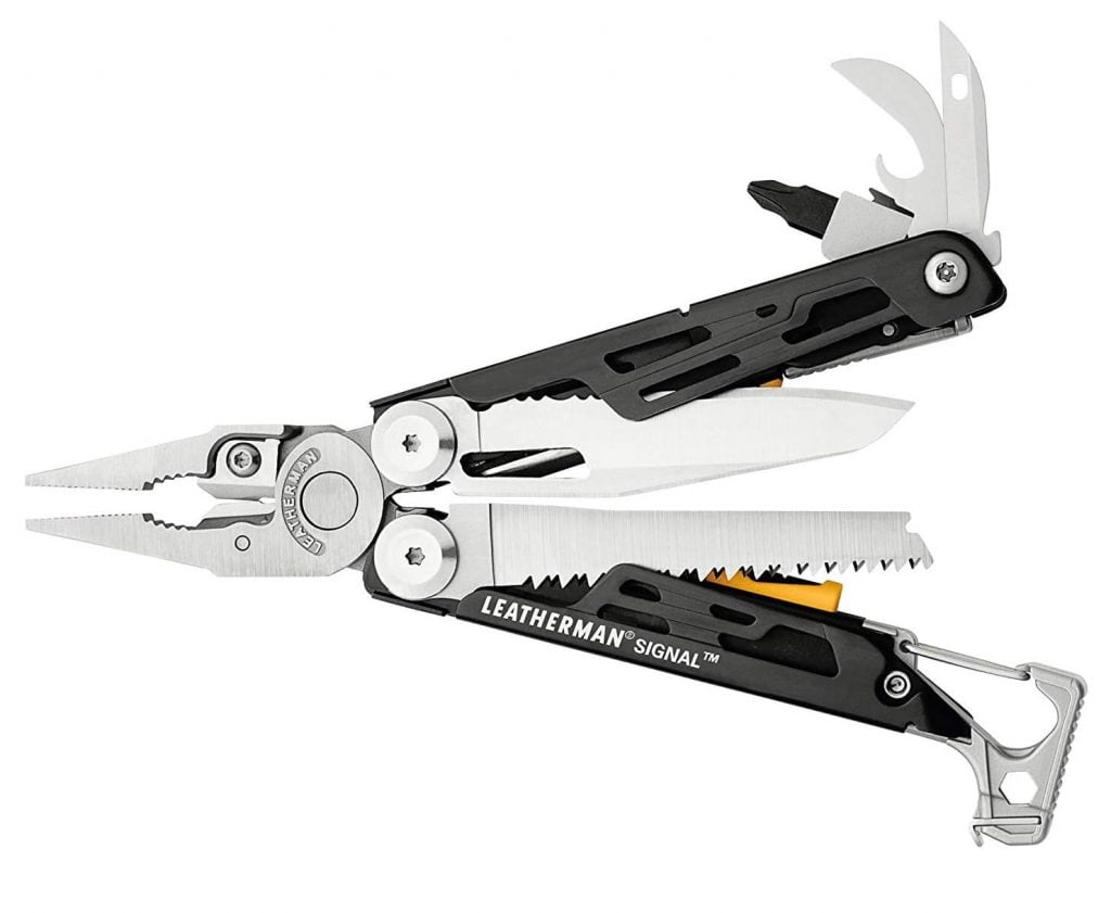 A multitool is a great gift for the hardcore traveller. The Leatherman Signal is an excellent one for camping.