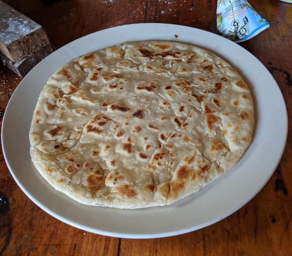 Making chapati while hiking the Usambara mountains