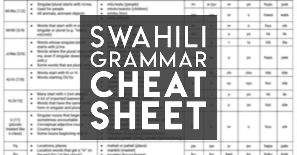 Download a cheat sheet of Swahili noun classes from Discover Discomfort