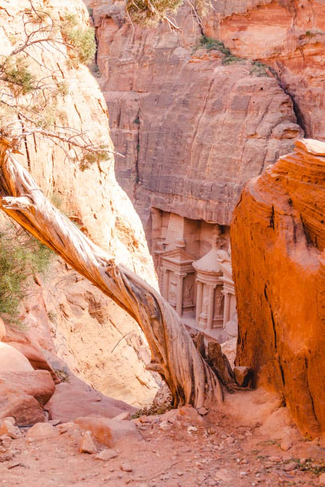 First views of Treasury from Treasury View Point Petra when hiking the best trails in Petra