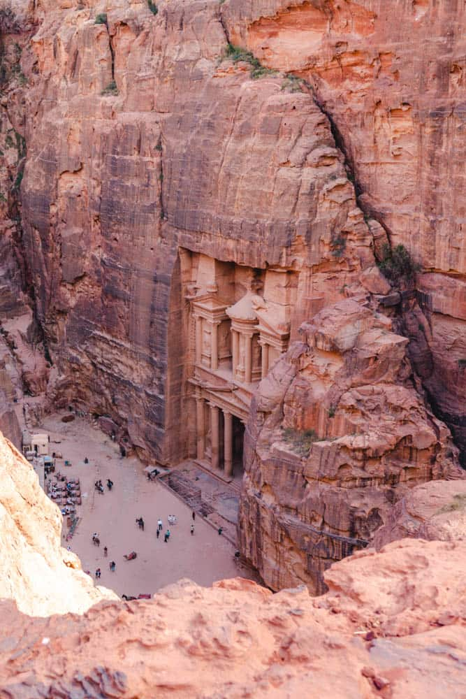 Full view of treasury approaching view point when hiking in Petra