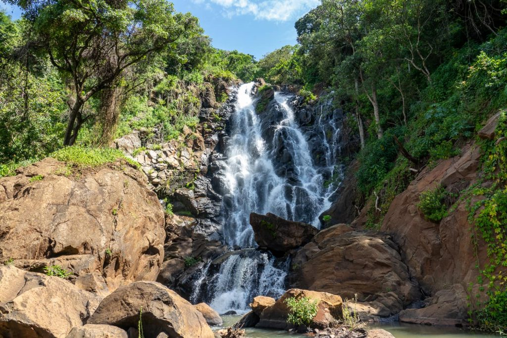 A waterfall in Kenya's countryside, where they also speak Swahili