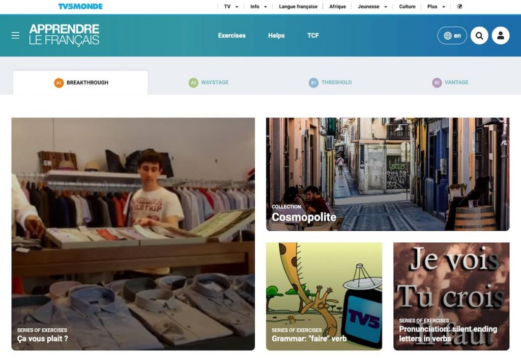 TV5Monde's online french course, a really great french learning resources