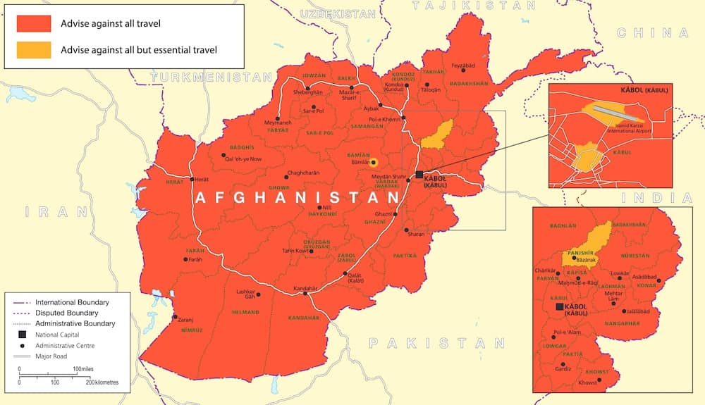 Travel warning against most parts of Afghanistan
