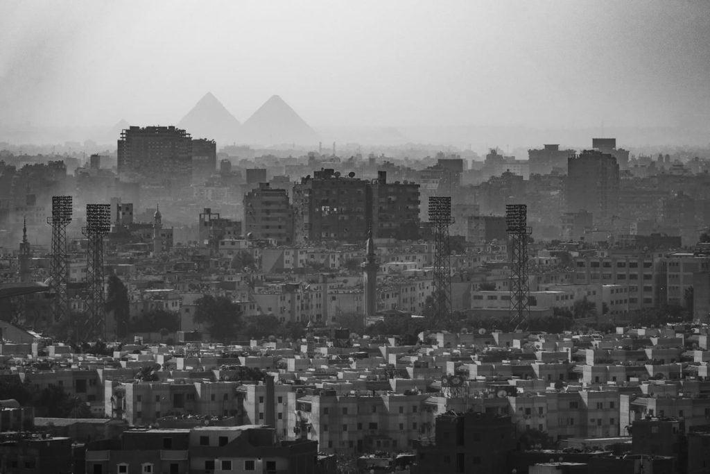the Pyramids of Giza seen over Cairo from Al Azhar Park