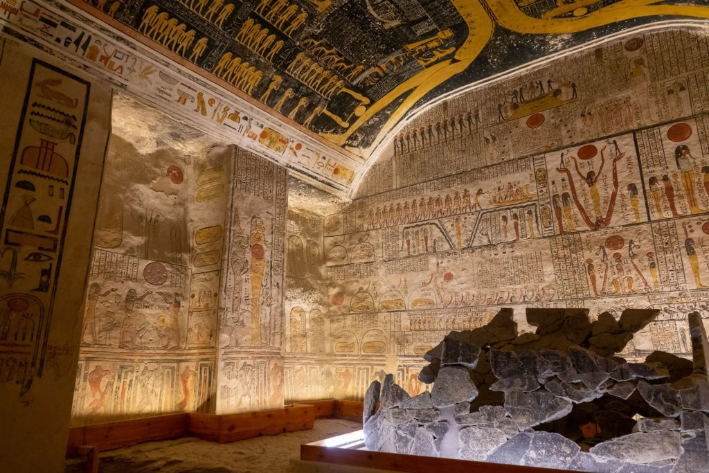 Inside a tomb in the Valley of the Kings in Luxor, Egypt