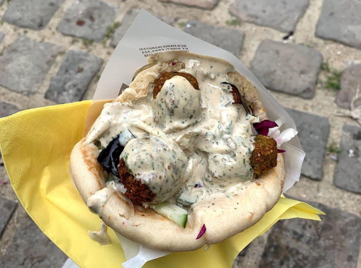 A felafel at L'as du Fallafel in Paris, one of our favourite ethnic eateries.