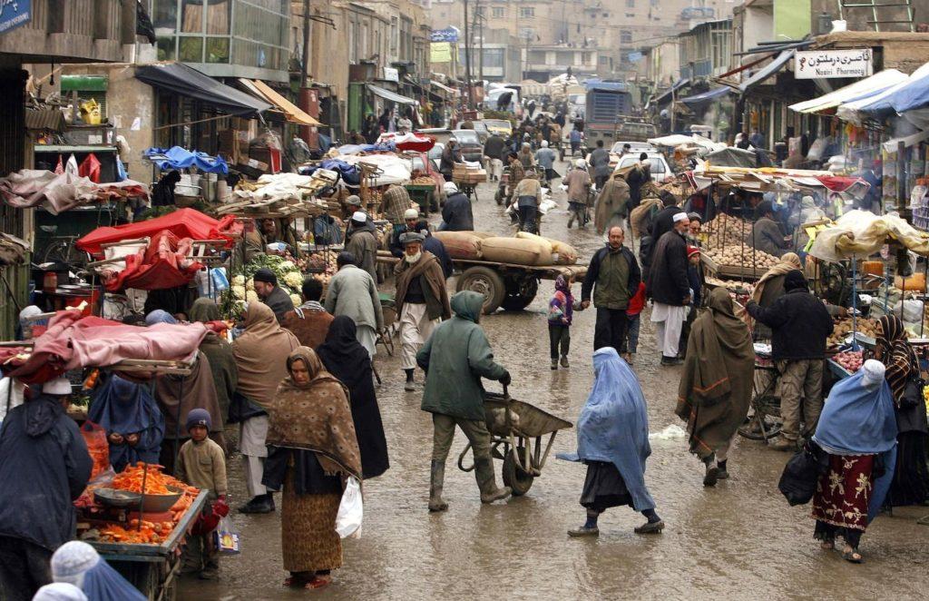Street scene in Kabul, where Farsi vs Dari is spoken