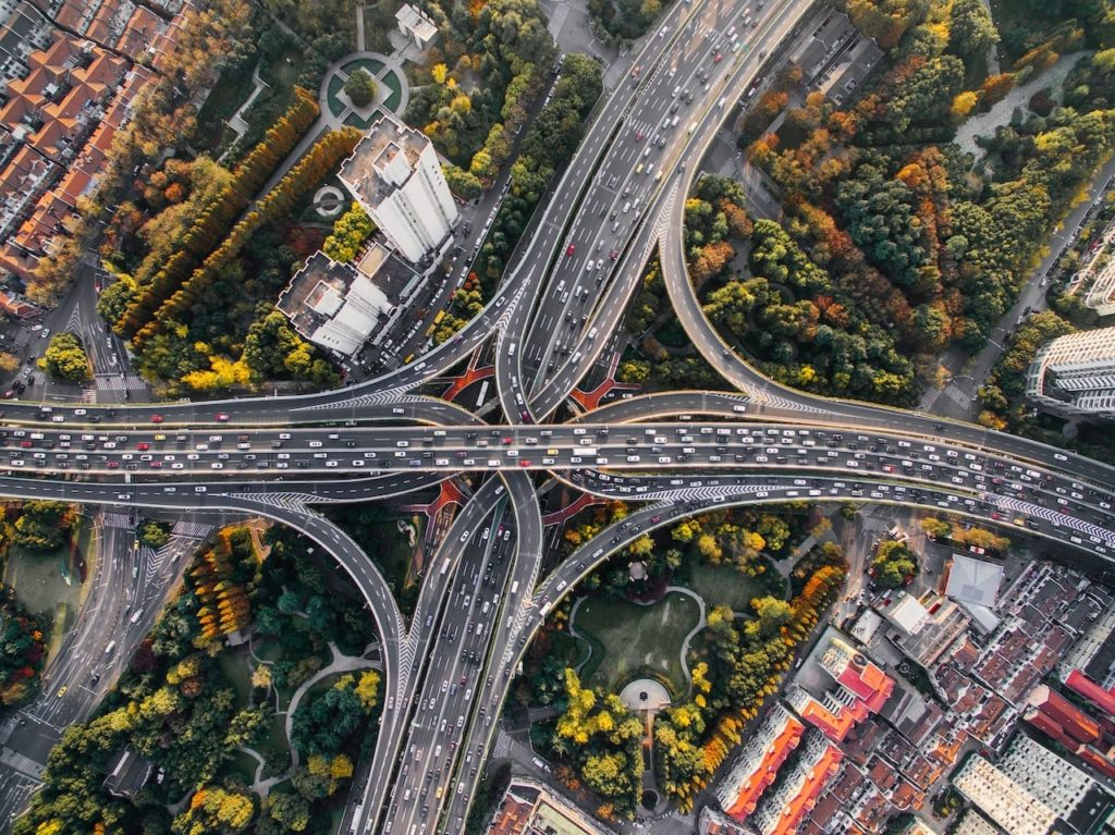 Aerial view of a ring road intersection in Beijing, China. Chinese is one of the hardest languages to learn.