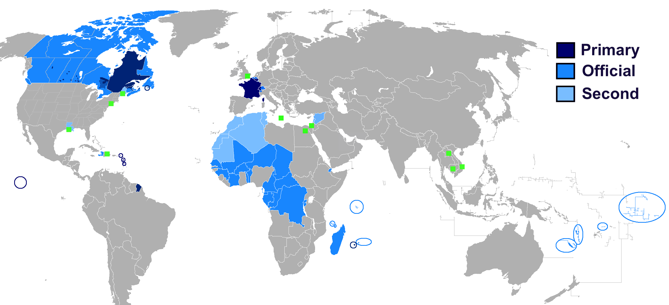 Map of French-speaking countries in the world