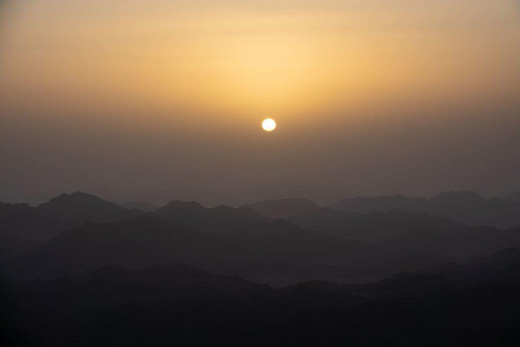 the sunrise over Mt Sinai in Egypt