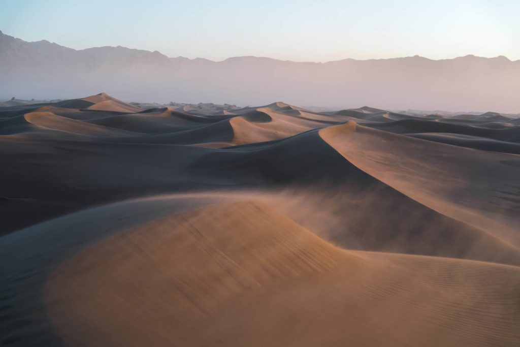 Mesquite Flat Sand Dunes Death Valley Desert at Sunrise