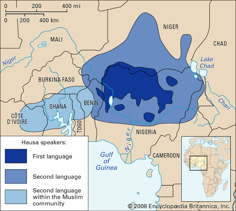 Map of where people speak Hausa, a major african language