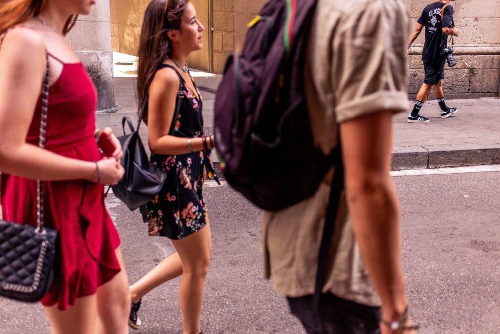 People walking in Barcelona, Catalunya, where Catalan is spoken
