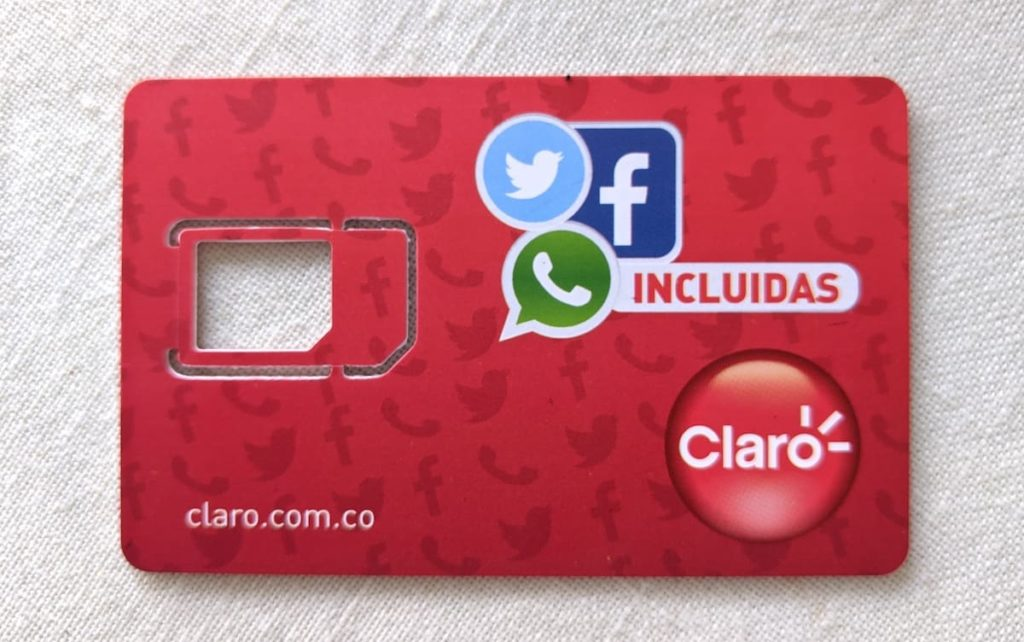 Claro sim card, essential for living in colombia if you use much data