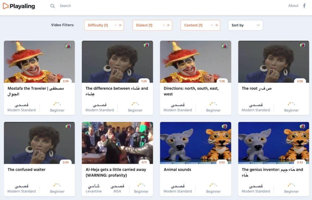 The Modern Standard Arabic videos on Playaling, a free website