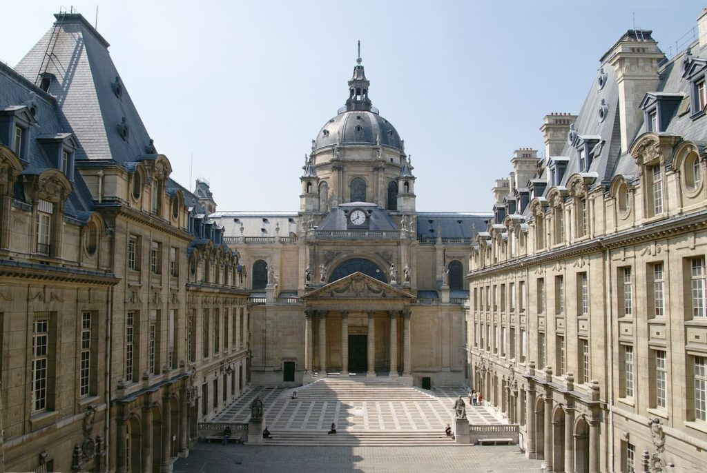 The courtyard of sorbonne university, france - one benefit of learning a new language is studying in that language