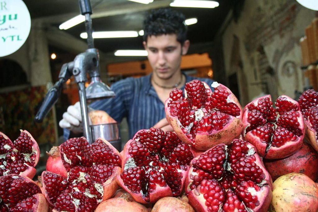 Pomegranate juice from Jaffa Market in Tel Aviv