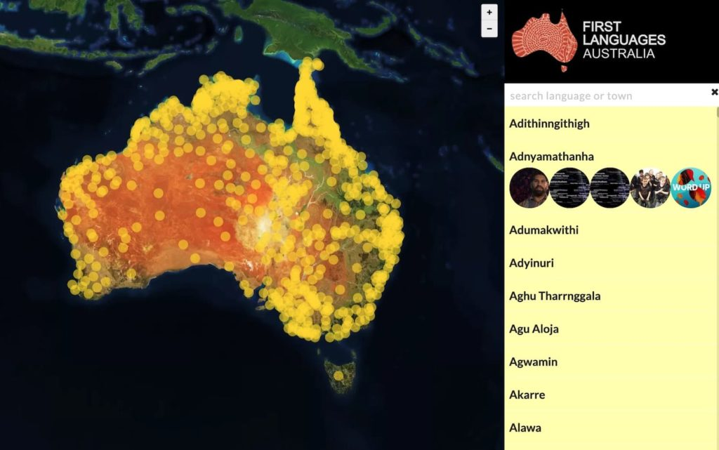 A map of Aboriginal Australian indigenous languages by First Languages Australia