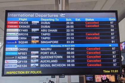 cancelled flights due to coronavirus pandemic