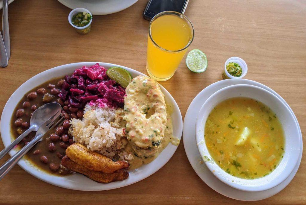Menu del dia in Cali, colombia. Sopa de verduritas. And bagre (catfish) with rice, bananas, and beans.
