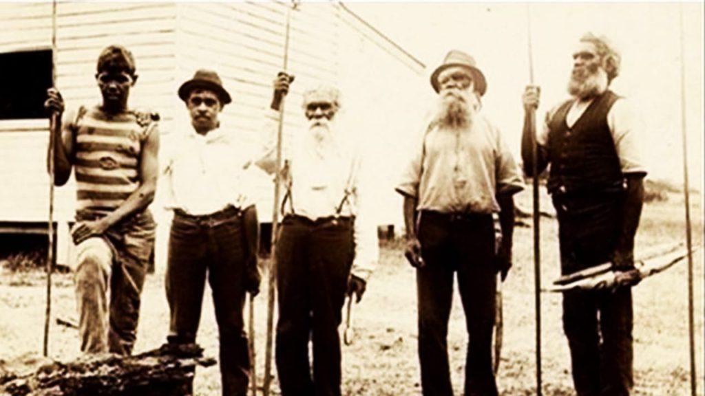 Historic photo of five aboriginal australian men. part of First Australians documentary series