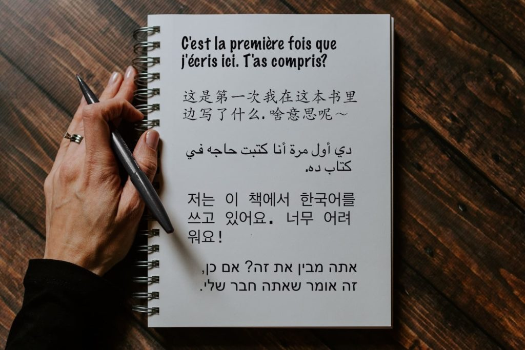 Journaling in another language in french, chinese, arabic, hebrew, and korean