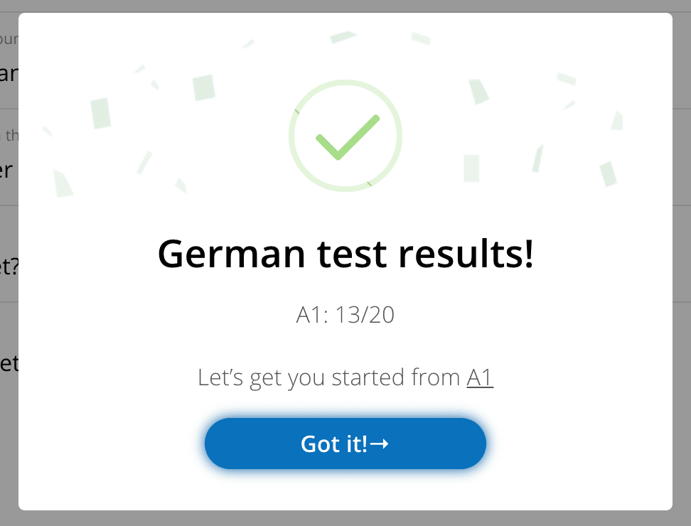 German placement test results in glossika