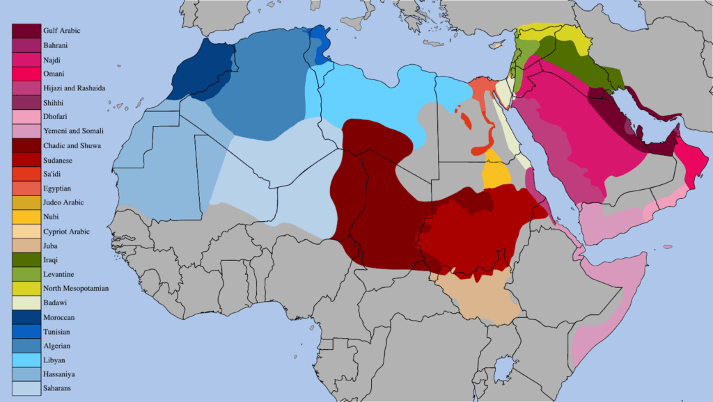 Map of arabic-speaking countries with arabic dialects spoken