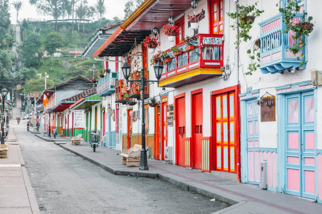 Calle Real colorful houses doors salento colombia