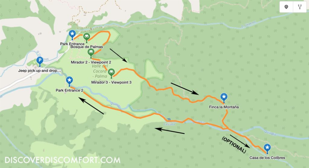 Cocora Valley hike trail map clockwise