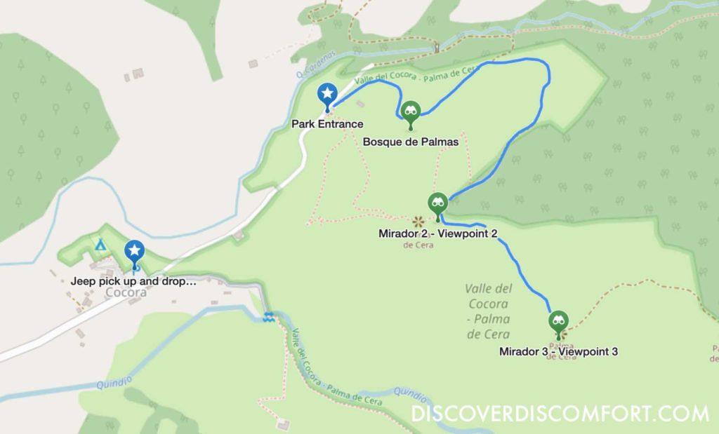 valle de cocora short route map