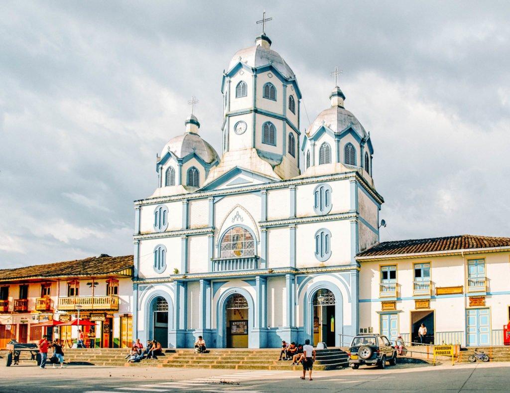 Filandia Church Maria Inmaculada blue and white Church
