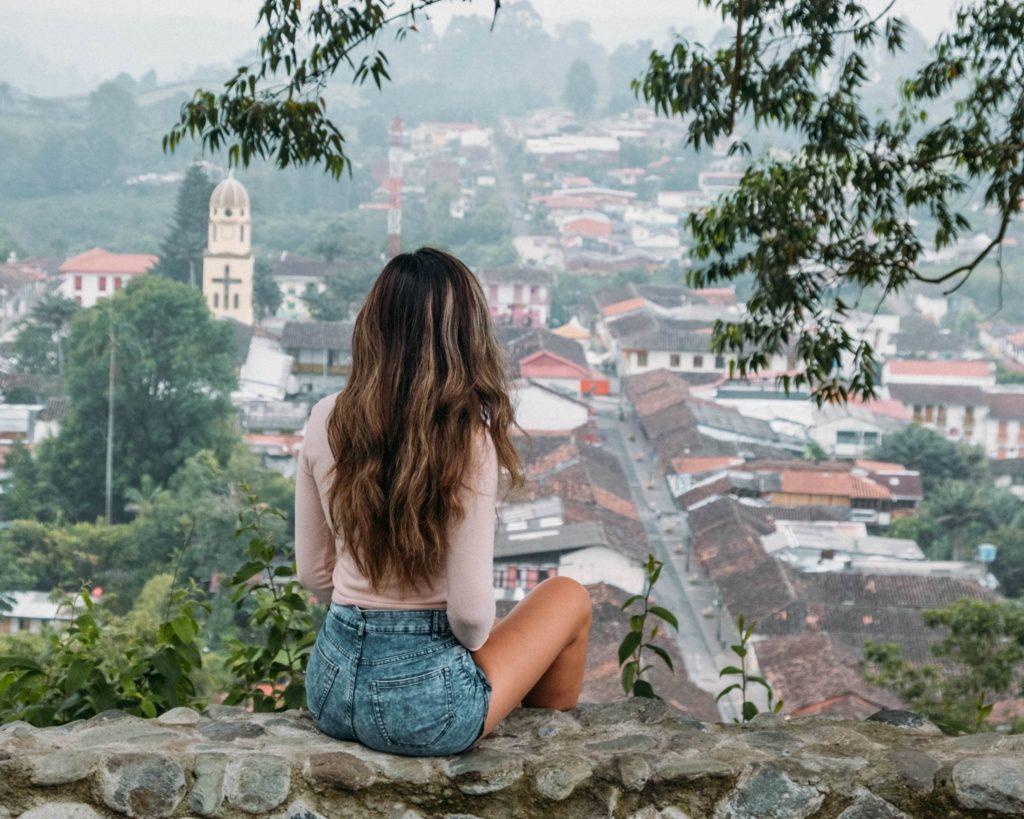 Mirador alto de la cruz view in Salento Woman with Long Hair