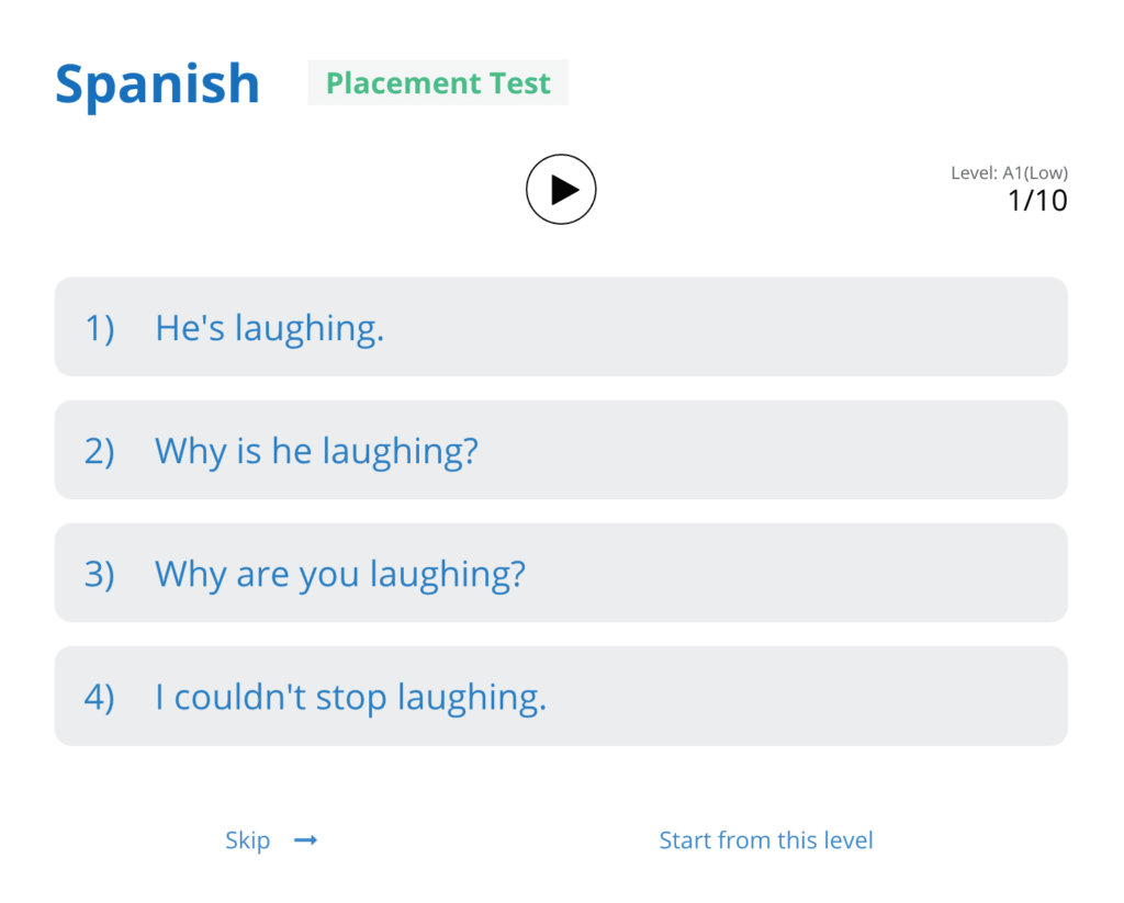Placement test for Glossika spanish review