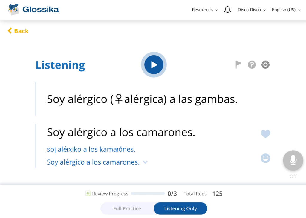 Glossika interface learning full sentences instead of words