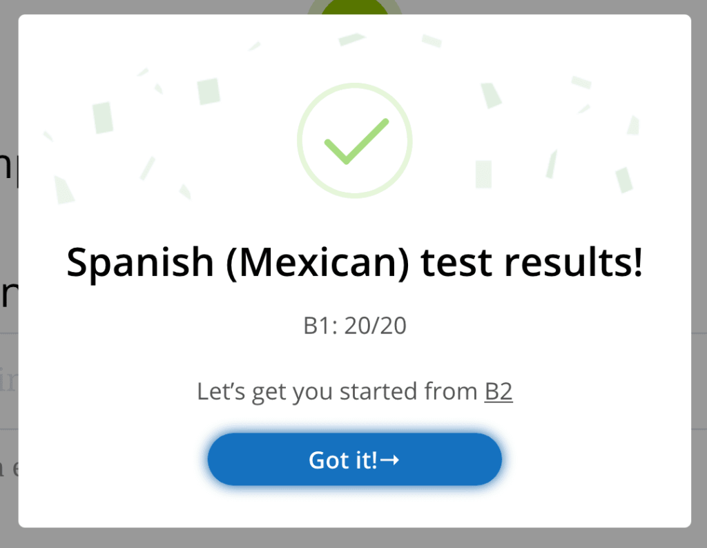 Glossika spanish review placement test getting to B2