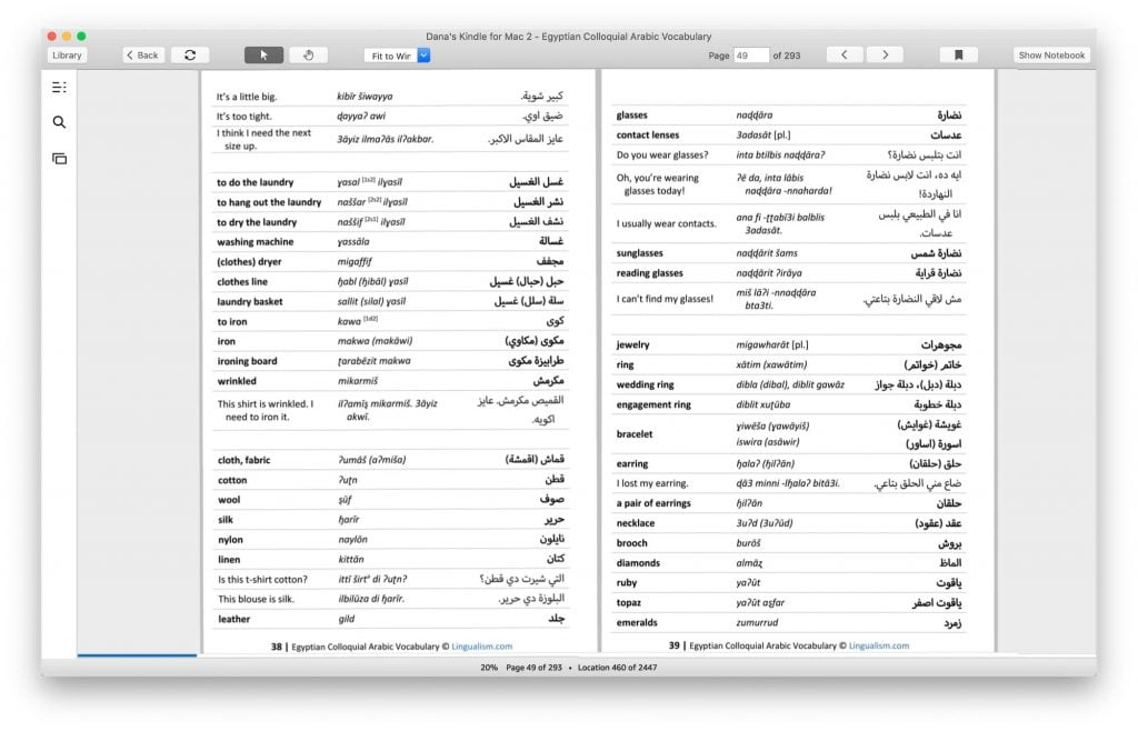 Egyptian arabic vocabulary resource from Lingualism
