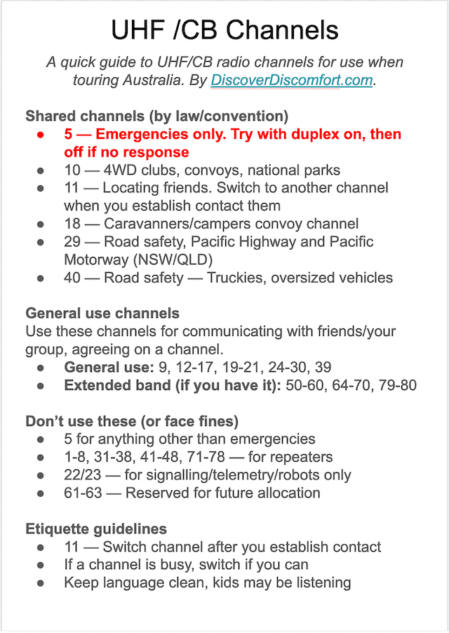 Guide to UHF/CB radio channels in Australia for beginners