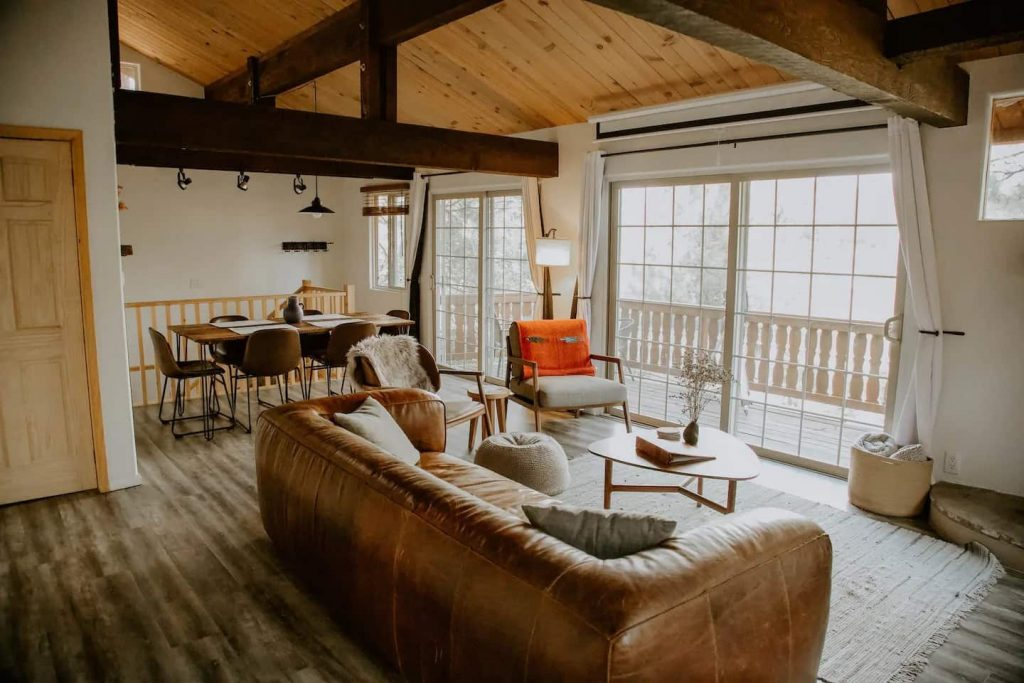 big bear airbnb cabin rustic running wolves lodge