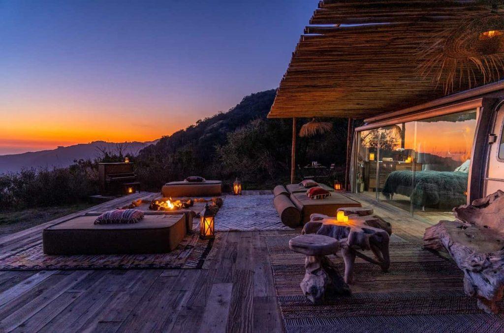 Glamping California Malibu Airstream Eco Retreat View Sunset