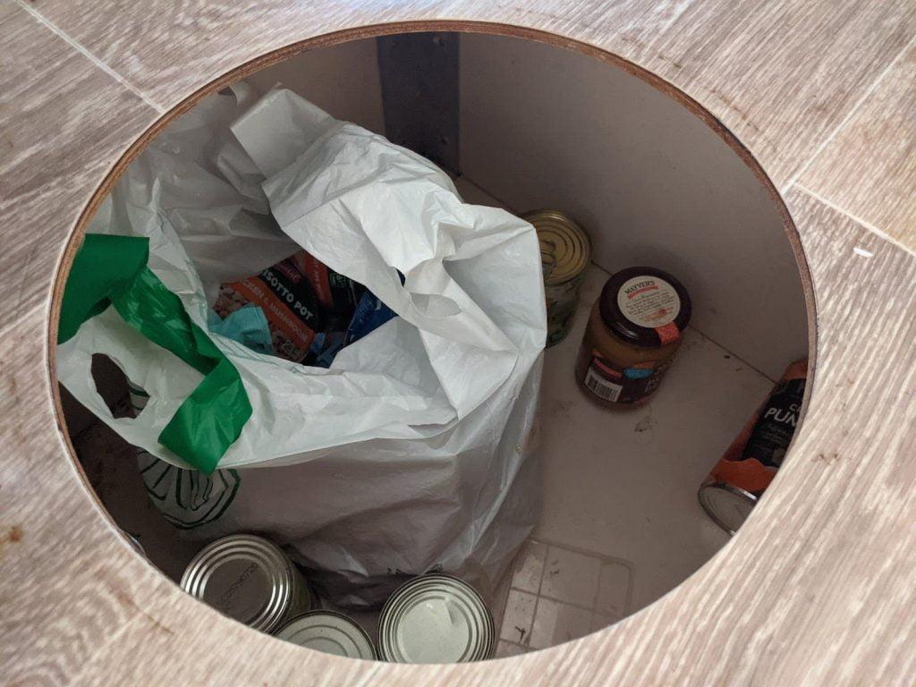 Trayon camper food storage area