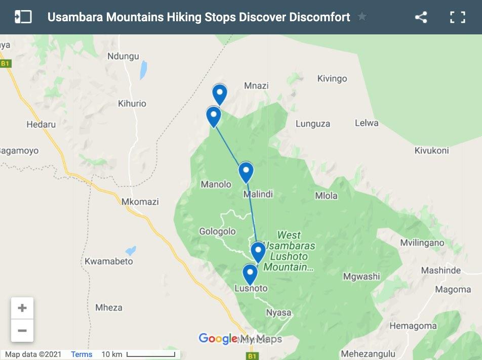 Usambara Mountains Hiking Map 4 days